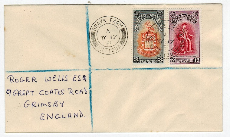 ANTIGUA - 1951 registered cover to UK from GRAYS FARM.