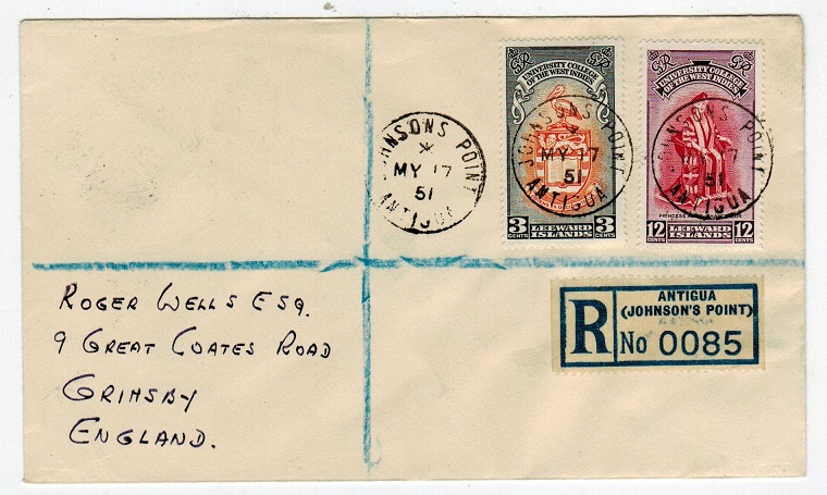 ANTIGUA - 1951 registered cover to UK from JOHNSONS POINT.