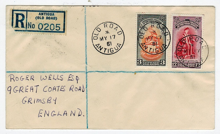 ANTIGUA - 1951 registered cover addressed to UK from OLD ROAD.