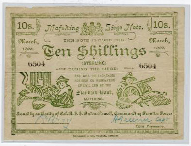 CAPE OF GOOD HOPE - 1900 10/- green MAFEKING SIEGE NOTE. A scarce item from the Boer War.