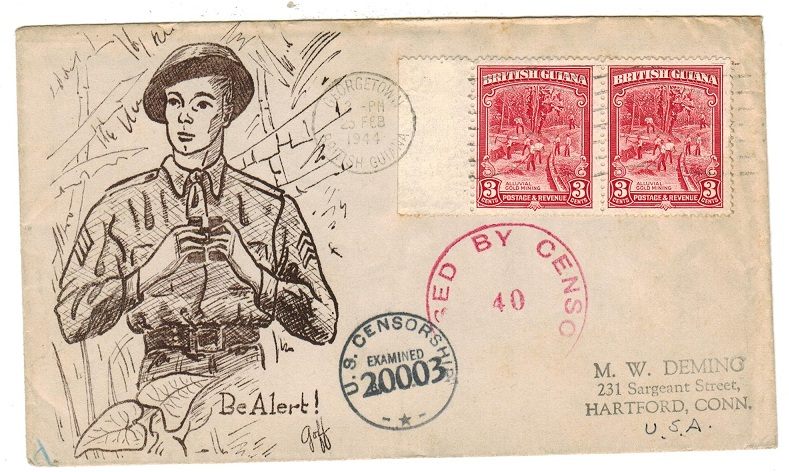 BRITISH GUIANA - 1944 illustrated cover to USA with PASSED BY CENSOR/40 h/s in red.