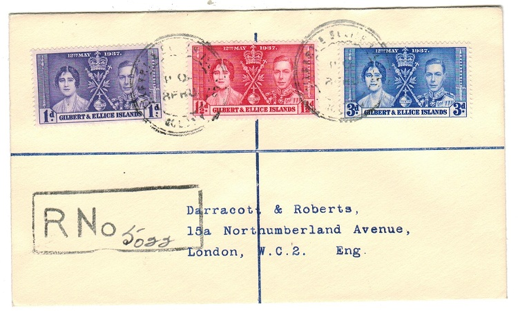 GILBERT AND ELLICE IS - 1938 cover to UK cancelled by rubber P.O.BERU cancel.