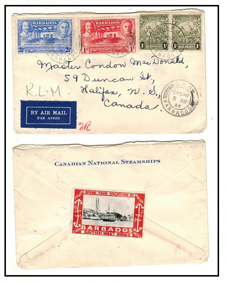 BARBADOS - 1939 cover to Canada with