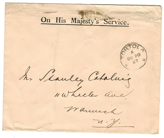 BRITISH VIRGIN ISLANDS - 1927 use of stampless OHMS envelope to USA from TORTOLA.