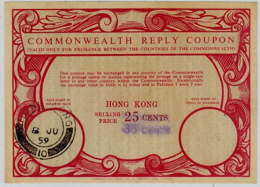 HONG KONG - 1959 issued 25c surcharged 35c COMMONWEALTH REPLY COUPON.