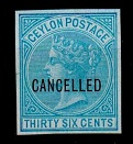 CEYLON - 1872 36c IMPERFORATE PLATE PROOF in blue overprinted CANCELLED.