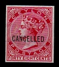 CEYLON - 1872 48c IMPERFORATE PLATE PROOF in rose overprinted CANCELLED.