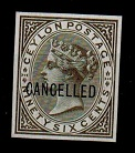 CEYLON - 1872 96c IMPERFORATE PLATE PROOF in drab-grey overprinted CANCELLED.