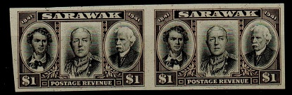 SARAWAK - 1946 £1 IMPERFORATE PLATE PROOF pair in black and sepia.