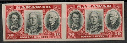 SARAWAK - 1946 50c IMPERFORATE PLATE PROOF pair in black and scarlet.