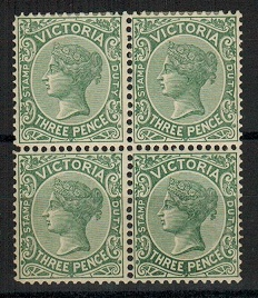 AUSTRALIA (Victoria) - 1901 3d slate green mint block of four.  SG 362.