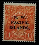 NEW GUINEA (N.W.P.I.) - 1915 4d yellow-orange mint with LINE THROUGH FOUR PENCE variety.  SG 70c.
