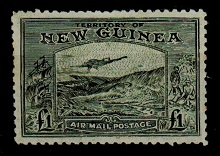 NEW GUINEA - 1932 £1 olive-grey PANELLI FORGERY mint.