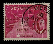 SEYCHELLES - 1952 18c carmine-lake used with ST EDWARDS CROWN watermark error.  SG 162b.