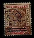 SEYCHELLES - 1901 3c on 36c (SG 39b) used showing 3 CENTS practically OMITTED.