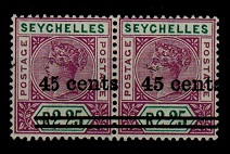 SEYCHELLES - 1902 45c on 2r25c bright maurve and green mint pair with NARROW 5. SG 45/45b.
