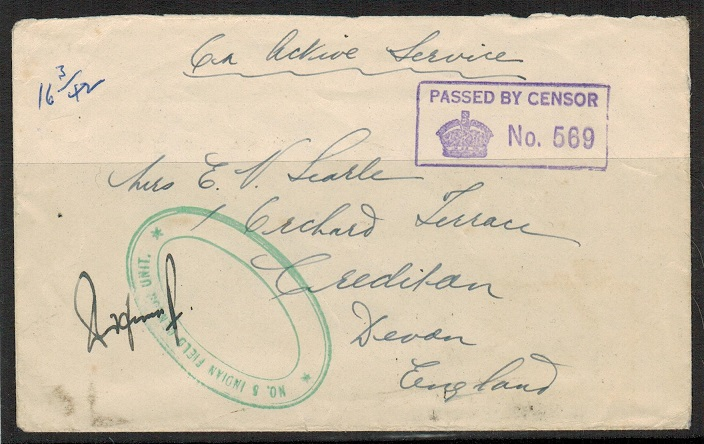 CEYLON - 1942 FPO 74 cover to UK with green No.5 INDIAN FIELD CENSOR UNIT h/s.