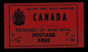 CANADA - 1942 (Circa) CANADA/PRISONER OF WAR MAIL/POSTAGE FREE label.