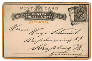 NYASALAND - 1895 2d PSC used from BLANTYRE.  H&G 5.