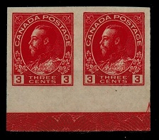 CANADA - 1923 3c carmine IMPERFORATE pair with LATHE TYPE D work in margin. SG 261.