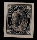 CANADA - 1897 1/2c IMPERFORATE PLATE PROOF in black.