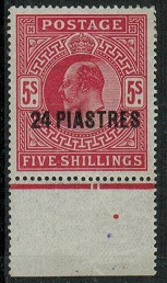 BRITISH LEVANT - 1912 24pi on 5/-