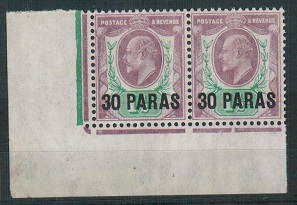 BRITISH LEVANT - 1909 30pa on 1 1/2d U/M pair with DATE CUTS.  SG 16.
