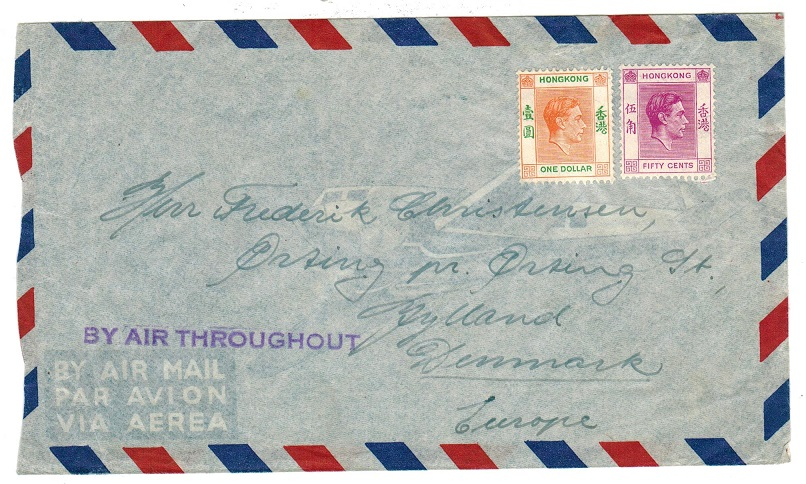 HONG KONG - 1946 (circa) cover to Denmark with violet BY AIR THROUGHOUT instructional h/s.