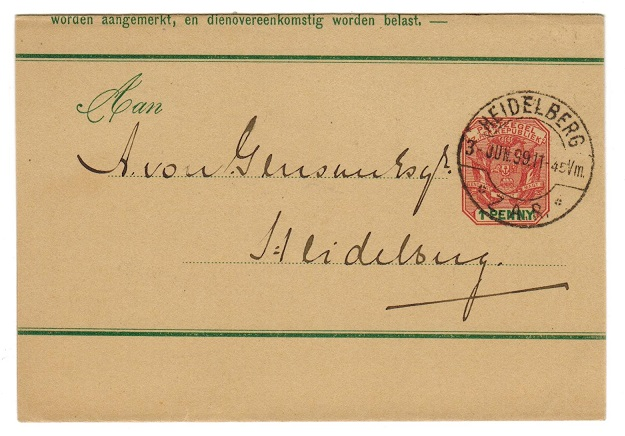 TRANSVAAL - 1899 1d postal stationery wrapper used from HEIDELBERG/ZAR.  H&G 2.