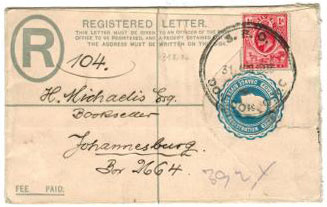 ORANGE RIVER COLONY - 1902 4d PSE with S.P.O.DON DON sub office cancel.  H&G 1.