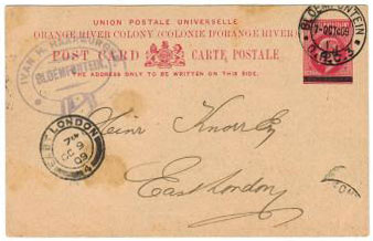 ORANGE RIVER COLONY - 1909 1/2d surcharge on 1d PSC used at BLOEMFONTEIN.  H&G 39.