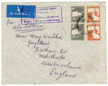 PALESTINE - 1940 cover to UK with INSUFFICIENTLY PRE-PAID violet handstamp.