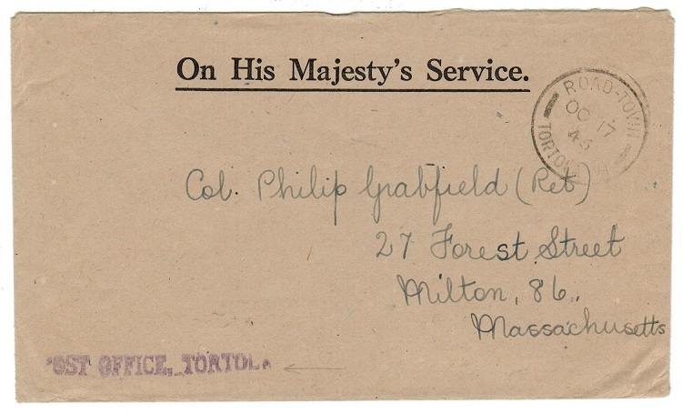 BRITISH VIRGIN ISLANDS - 1946 OHMS cover from ROAD TOWN.