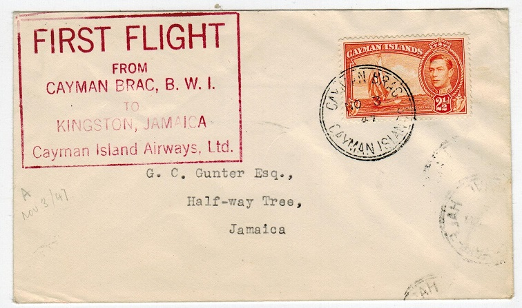 CAYMAN ISLANDS - 1947 first flight cover to Jamaica.