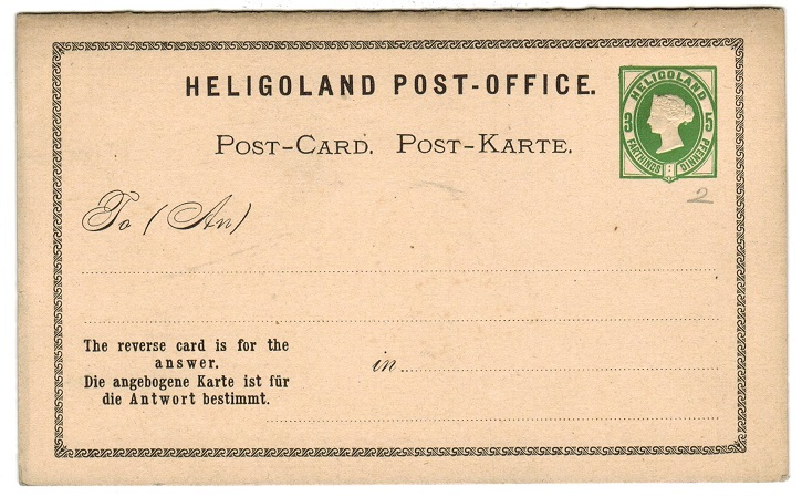 HELIGOLAND - 1876 3f/5pfg + 3f/5pfg green on buff PSRC unused.  H&G 2.