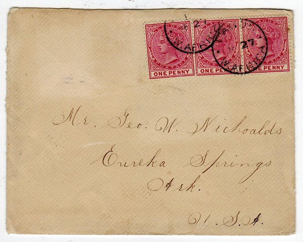 LAGOS - 1902 cover to USA with 1d (x3) adhesives (SG 22) tied LAGOS/W.AFRICA.