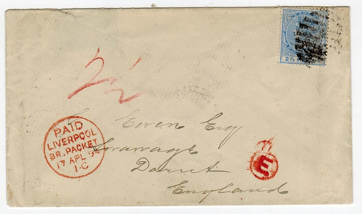 LAGOS - 1894 cover to UK bearing 2 1/2d (SG 31) tied LAGOS/W.AFRICA.