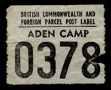 ADEN - 1930 (circa) FOREIGN PARCEL/ADEN CAMP label.