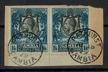 GAMBIA - 1922 1/6d blue pair on piece from BATHURST. SG 135.