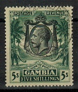 GAMBIA - 1922 5/- green on yellow used.  SG 121.