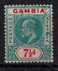 GAMBIA - 1905 7 1/2d green and carmine. Used.  SG 65.