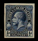 TURKS AND CAICOS IS - 1928 1/2d IMPERFORATE PLATE PROOF in blue.