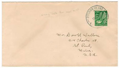 PITCAIRN ISLANDS - 1937 NZ 1/2d used in PITCAIRN ISLAND cover.