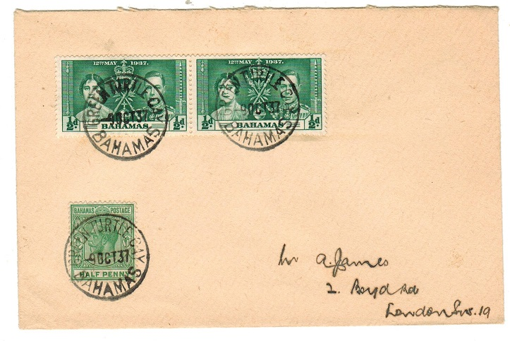 BAHAMAS - 1937 cover to UK from GREEN TURTLE CAY.