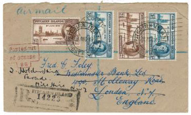 PITCAIRN ISLANDS - 1947 cover to UK struck POSTED OUT OF COURSE.