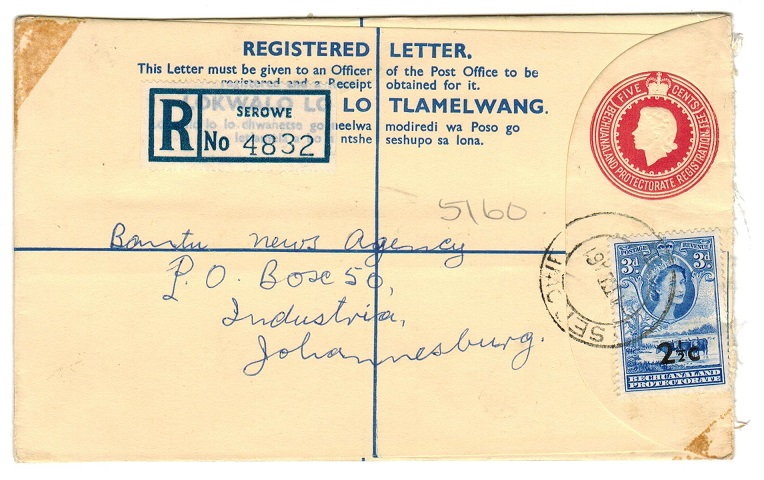 BECHUANALAND - 1961 5c RPSE addressed to South Africa uprated and used at SEROWE.  H&G 20.