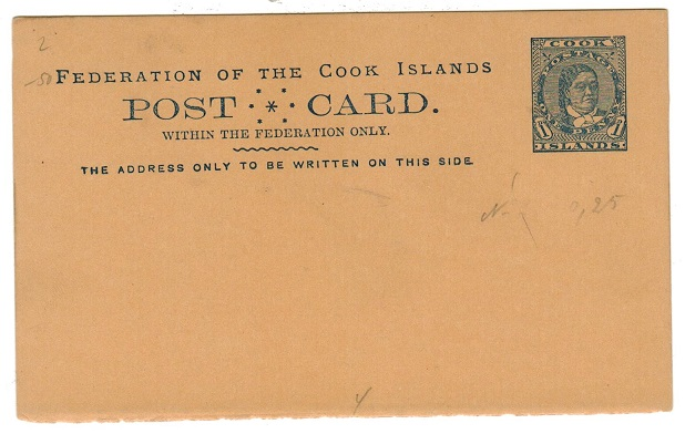 COOK ISLANDS - 1894 1d blue on ochre PSC unused.  H&G 2.