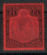 LEEWARD ISLANDS - 1952 £1 violet and black adhesive in fine mint condition.  H&G 114c.