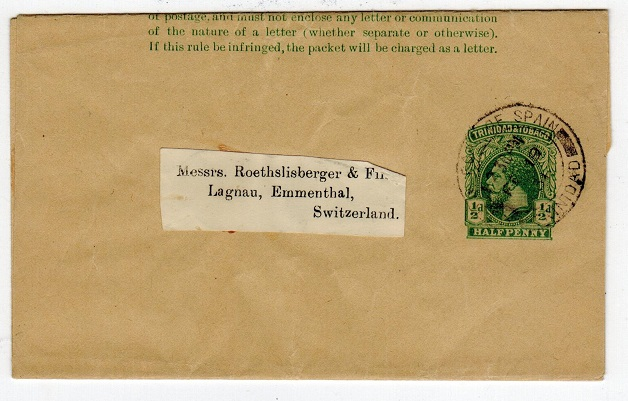TRINIDAD AND TOBAGO - 1915 1/2d green postal stationery wrapper from PORT OF SPAIN. H&G 1.