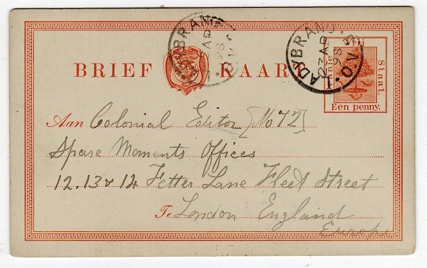 ORANGE FREE STATE - 1884 1d PSC used from LADYBRAND.  H&G 1.